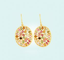 Touremline Oval Jali Earrings